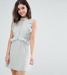 Короткое приталенное платье с оборками на плечах -Зеленый True Decadence Petite 5975310