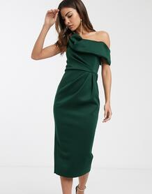Зеленое платье-футляр миди со спущенным плечом и драпировкой -Зеленый ASOS DESIGN 9973749