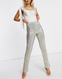 Серебристые расклешенные брюки из трикотажа с блестками -Серебряный ASOS DESIGN 10652453