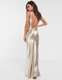 Атласное платье макси с глубоким вырезом на спине -Neutral ASOS DESIGN 9694489