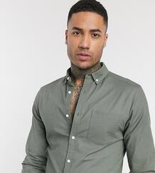 Облегающая оксфордская рубашка цвета хаки Tall-Зеленый цвет ASOS DESIGN 9630413