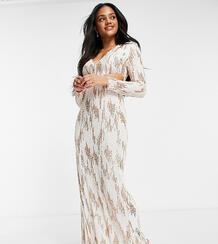 Кремовое платье макси с золотистой отделкой, пайетками и глубоким декольте JadedRoseexclusive-Белый Jaded Rose 10542017