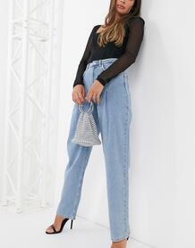Голубые широкие джинсы со складками -Голубой NA-KD 10283181