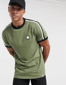 Футболка цвета хаки с окантовкой -Зеленый Pretty Green 10566994
