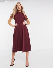 Бордовое платье миди с кружевной отделкой -Красный Liquorish 10604920