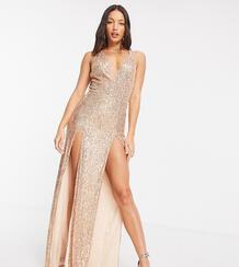 Золотистое длинное платье с пайетками, глубоким декольте и двойным разрезом JadedRoseTallexclusive-Золотой Jaded Rose Tall 10542747