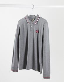 Серая футболка-поло с длинными рукавами Likeminded-Серый Pretty Green 10566934