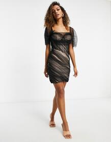 Сетчатое платье мини черного цвета с открытыми плечами -Черный цвет MISSGUIDED 11212671