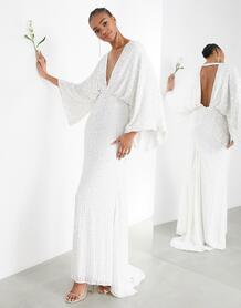 Свадебное платье с широкими рукавами и пайетками -Белый ASOS Edition 7949971