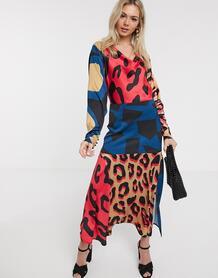 Атласное платье-комбинация с абстрактным анималистичным принтом -Многоцветный Liquorish 8970737