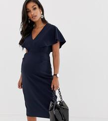 Темно-синее платье-футлярмиди с рукавами клеш ASOS DESIGN Maternity-Темно-синий Asos Maternity 9401716