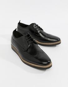 Черные кожаные броги на танкетке -Черный цвет ASOS DESIGN 7361780