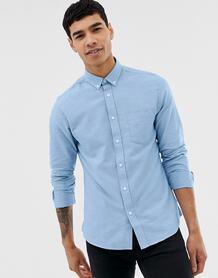 Голубая приталенная оксфордская рубашка на пуговицах -Голубой ONLY & SONS 6989297