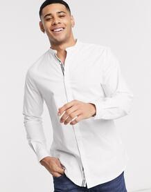 Белая узкая оксфордская рубашка с воротником на пуговице -Темно-синий River Island 9816536