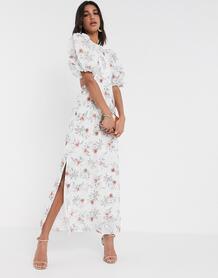 Платье макси с вырезами на спине и цветочным принтом -Многоцветный ASOS DESIGN 9486320