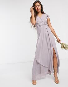 Серое платье макси с рукавами клеш -Серый Tfnc 9984922
