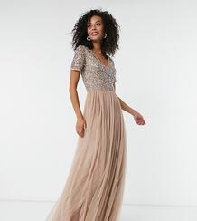 Светло-розовое платье макси из тюля с V-образным вырезом и пайетками Bridesmaid-Коричневый Maya Tall 8002629