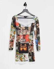 Платье мини с квадратным вырезом и смешанным принтом -Многоцветный New Girl Order 10941990