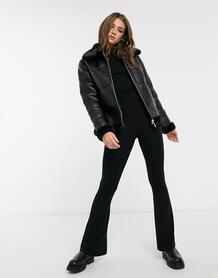 Черная двусторонняя куртка авиатор из искусственного меха с имитацией кожи -Черный New Look 10522723