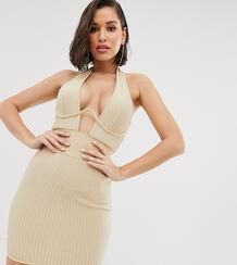 Премиум-платье мини цвета шампанского с вырезом на лифе -Кремовый MISSGUIDED 8906745