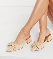 Бежевые мюли на среднем каблуке с бантом для широкой стопы Wide Fit Summer-Бежевый ASOS DESIGN 10837060