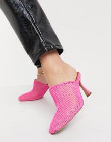 Розовые сетчатые мюли на среднем каблуке Sian-Розовый цвет ASOS DESIGN 10841840