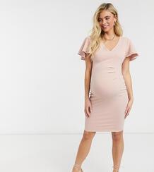 Светло-розовое облегающее платье миди с расклешенными рукавами -Розовый Blume Maternity 11022243