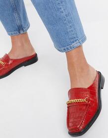 Красные кожаные мюли с эффектом крокодиловой кожи Munro-Красный ASOS DESIGN 10807768