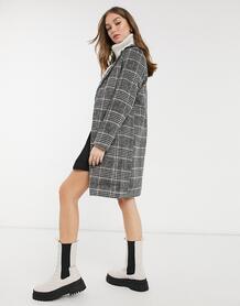 Классическое пальто миди в черную клетку -Черный New Look 10522575