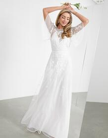 Свадебное платье с цветочной вышивкой -Белый ASOS Edition 10659619