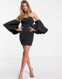 Черное платье с пышными рукавами -Черный MISSGUIDED 10669434