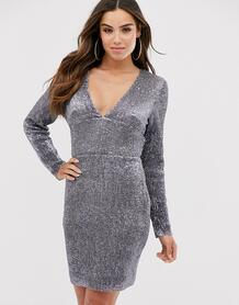 Платье мини с открытой спиной и глубоким вырезом -Серебристый Club L London 8661335