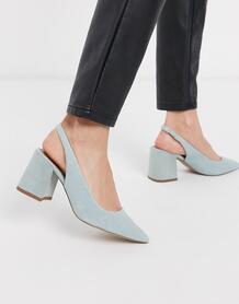Туфли на среднем каблуке с ремешком через пятку -Голубой ASOS DESIGN 9066652