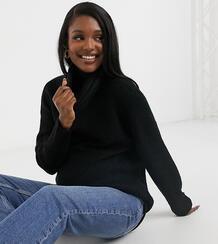 Удлиненный свободный джемпер черного цвета с объемными рукавами и отворачивающимся воротником -Черный цвет New Look Maternity 10795070