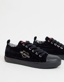 Черные кеды на шнуровке -Черный Love Moschino 10581058