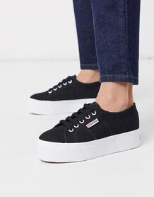 Черные кроссовки на белой платформе высотой 4 см 2790-Черный Superga 9370367