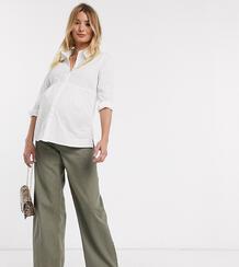 Свободные джинсы цвета хаки в винтажном стиле с завышенной талией и посадкой под животом ASOS DESIGN Maternity-Зеленый цвет Asos Maternity 8785539