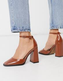 Светло-коричневые лакированные туфли на высоком каблуке с квадратным носком -Коричневый цвет ASOS DESIGN 9067023
