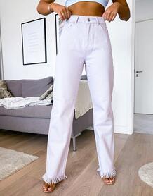 Лавандовые прямые джинсы с завышенной талией -Фиолетовый NA-KD 10150781
