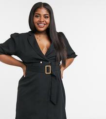 Черноеплатье-пиджак споясом -Черный цвет Saint Genies Plus 10582393