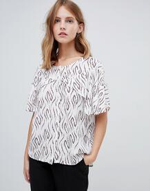 Блузка с принтом и рукавами-кейп -Многоцветный Ichi 7032097