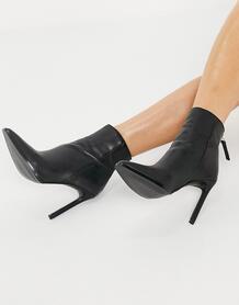 Черные кожаные ботильоны на каблуке Vegas-Черный цвет Steve Madden 10330988