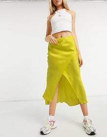 Желтая юбка миди косого кроя -Желтый River Island 10142146