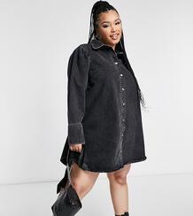 Черное джинсовое платье-рубашка с пышными рукавами ASOS DESIGN Curve-Черный цвет Asos Curve 11042091