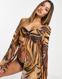 Пляжная рубашка с завязками и звериным принтом -Мульти Jaded London 10925940
