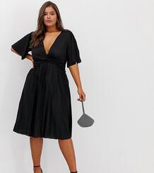 Плиссированное платье миди с широкими рукавами ASOS DESIGN Curve-Черный цвет Asos Curve 8292671