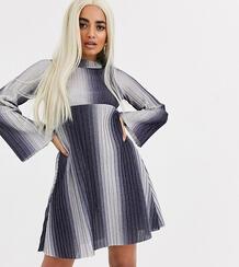 Свободное платье мини в рубчик с длинными рукавами ASOS DESIGN Petite-Голубой Asos Petite 9050656