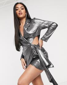 Трикотажный пиджак с эффектом металлик и драпировкой -Многоцветный ASOS DESIGN 9231281