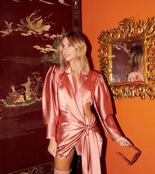 Длинный атласный пиджак с драпировкой и поясом -Розовый цвет ASOS DESIGN 9413551