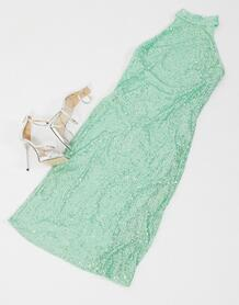 Платье мидимятного цветас вырезом под горло и пайетками -Зеленый цвет Pretty Lavish 10125592